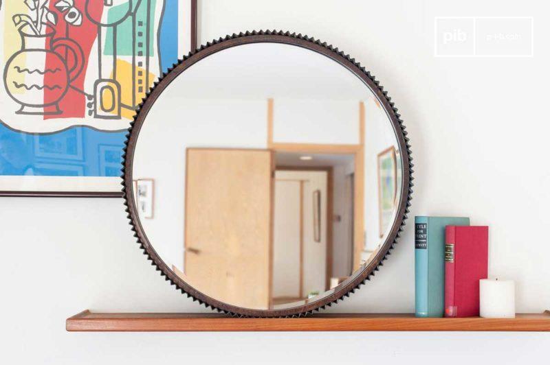 Miroir rond en métal style industriel