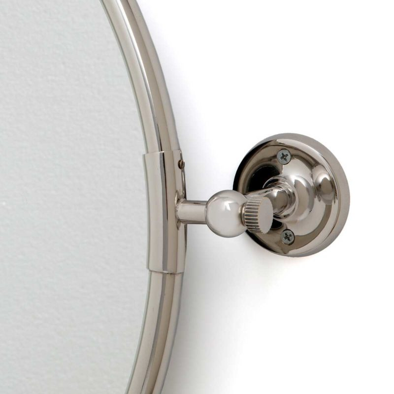 Miroir inclinable rond argente