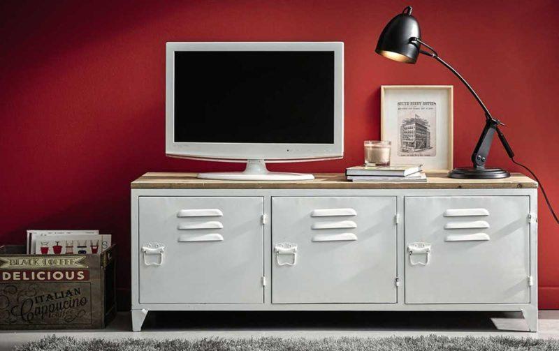 Mobilier pour télévision métal blanc avec plateau bois