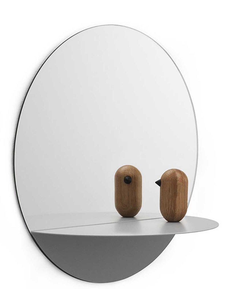 Petit miroir rond avec tablette