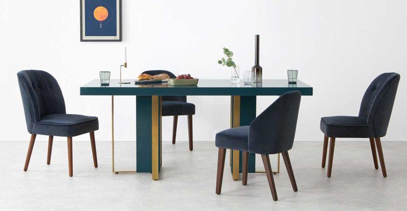 Table bleu canard