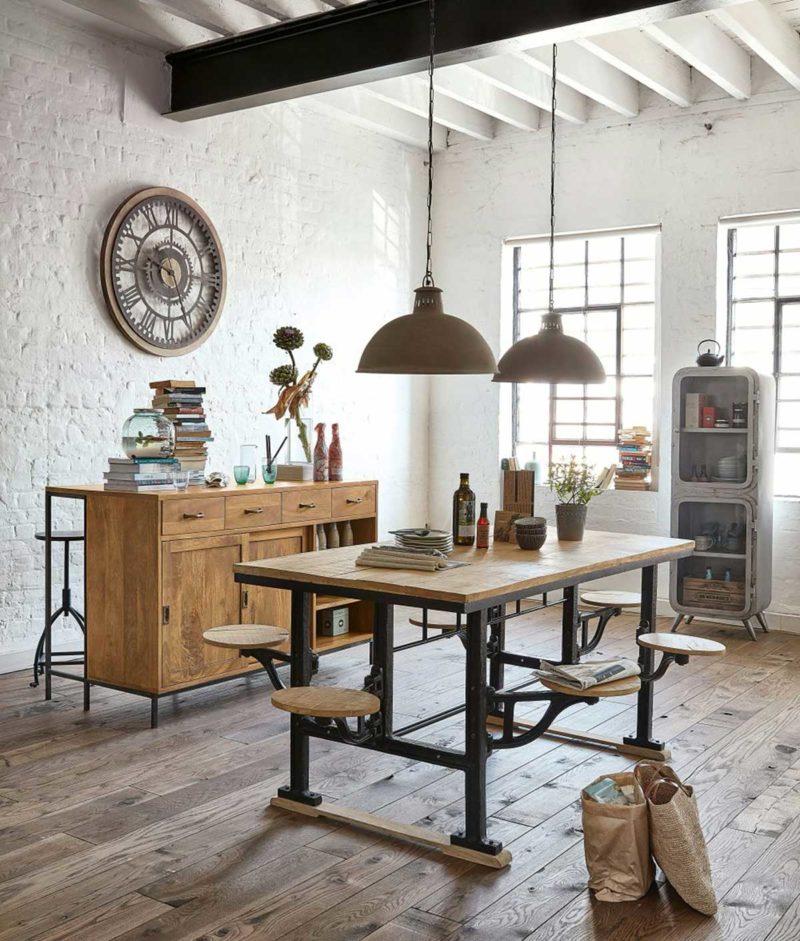 Table de salle à manger industrielle originale avec tabouret intégrés