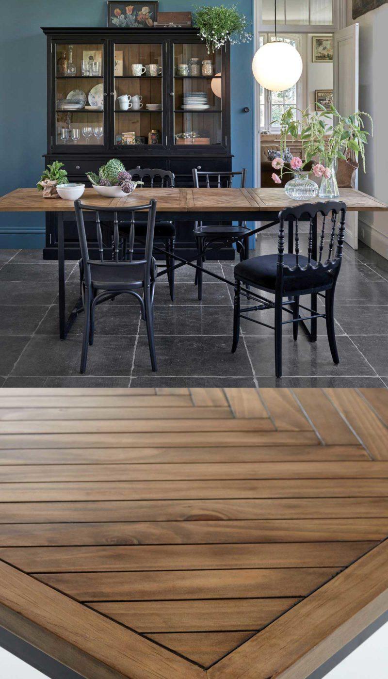 Table avec plateau original style parquet chevron