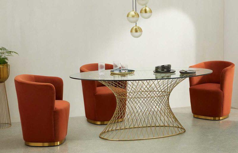 Table originale ovale en verre