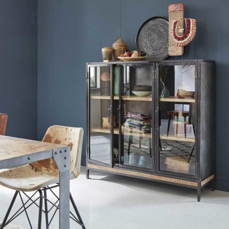 Bahut vitré style vaisselier noir et bois