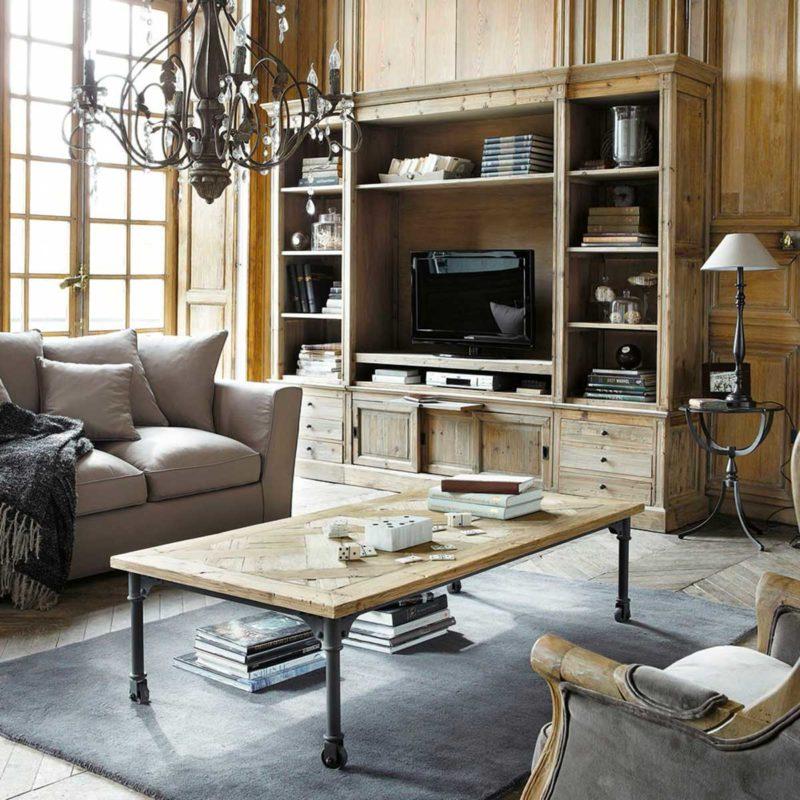 Bibliothèque meuble télé en bois massif de style classique
