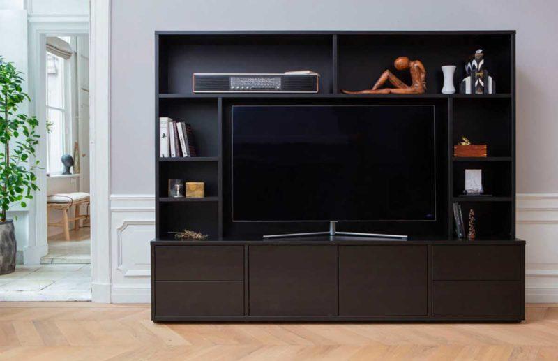 Bibliothèque meuble TV noir