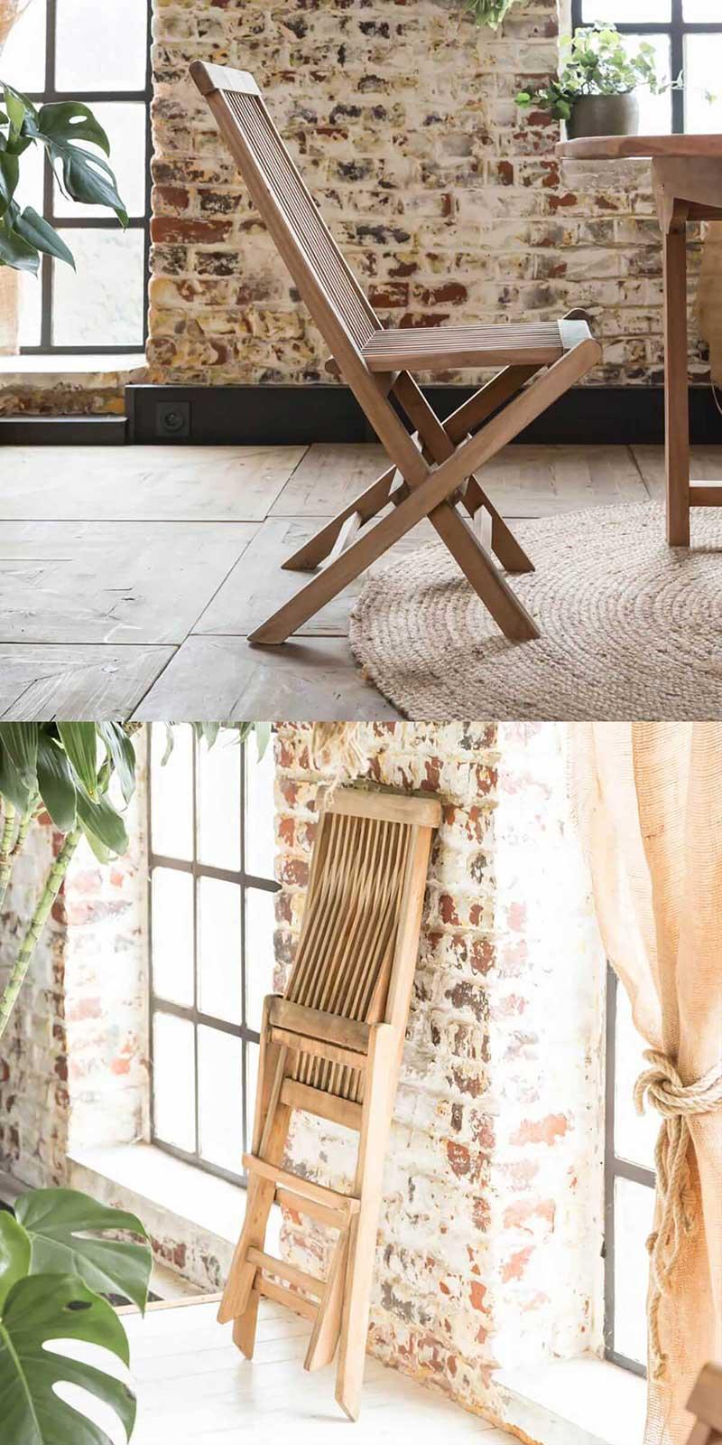 Chaise pliante de jardin en teck