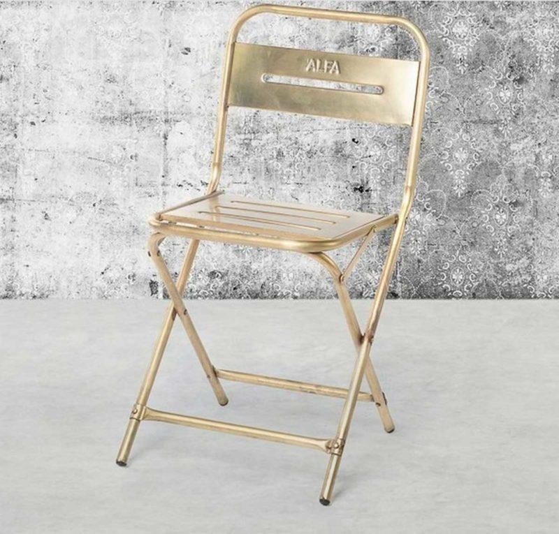 Chaise pliante en métal esprit vintage