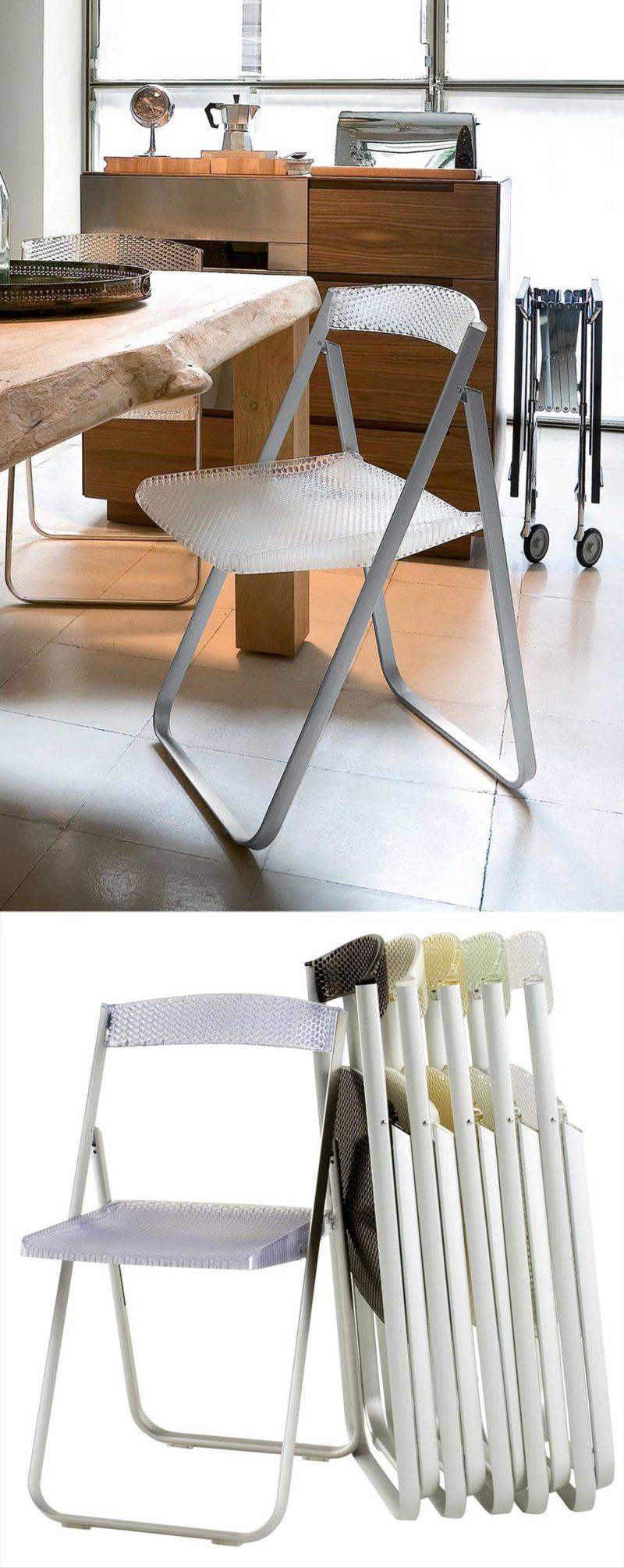 Chaise pliante d'intérieur en plastique et métal par Kartell