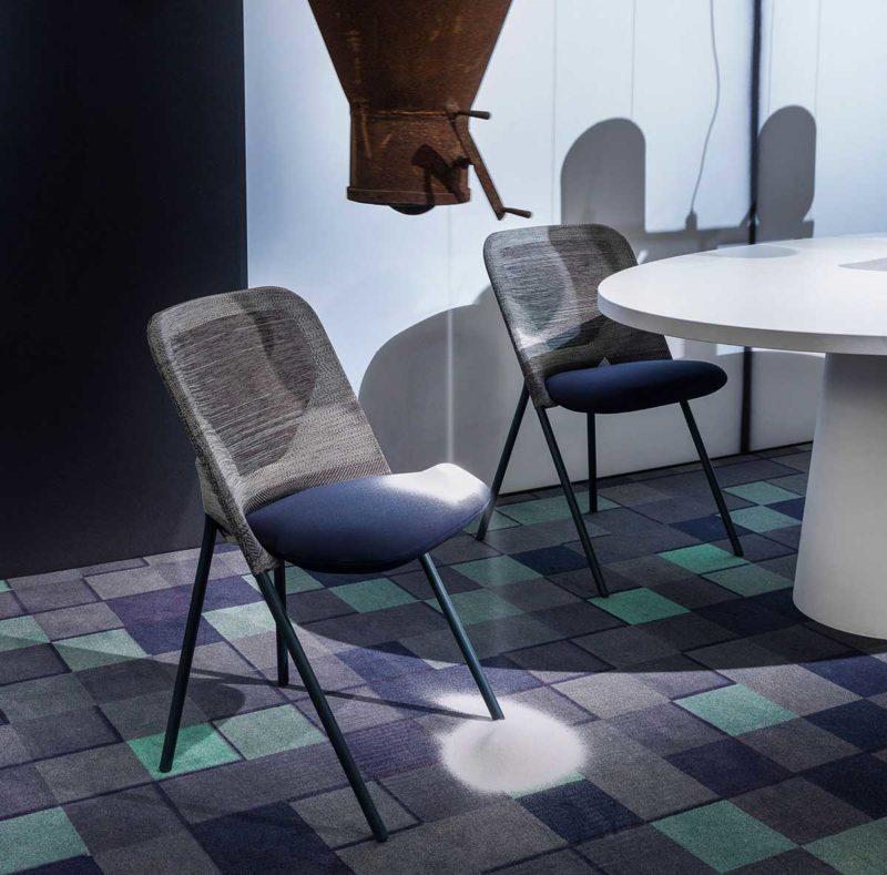 Chaise pliante rembourrée en tissu