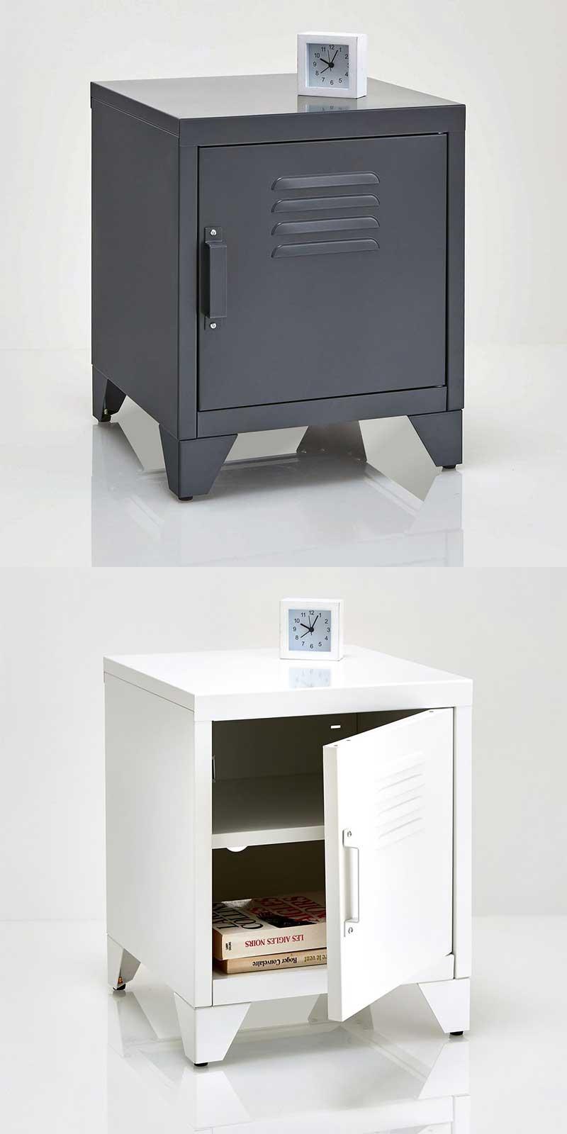 Chevet en métal blanc ou gris pour chambre industrielle