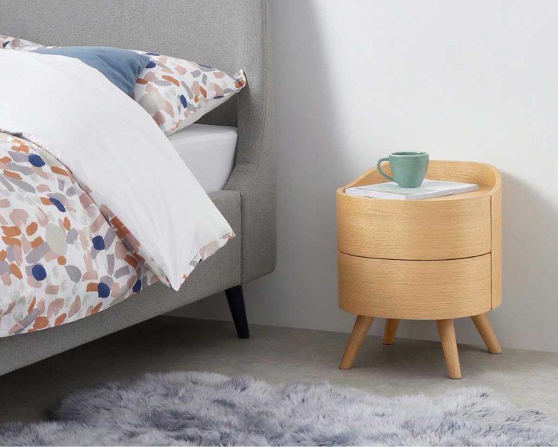 Chevet rond design scandinave moderne en bois