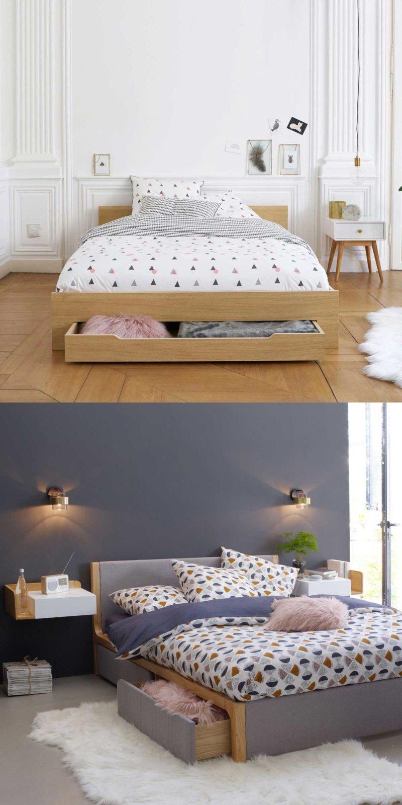 Gain de place avec un tiroir en-dessous d'un lit