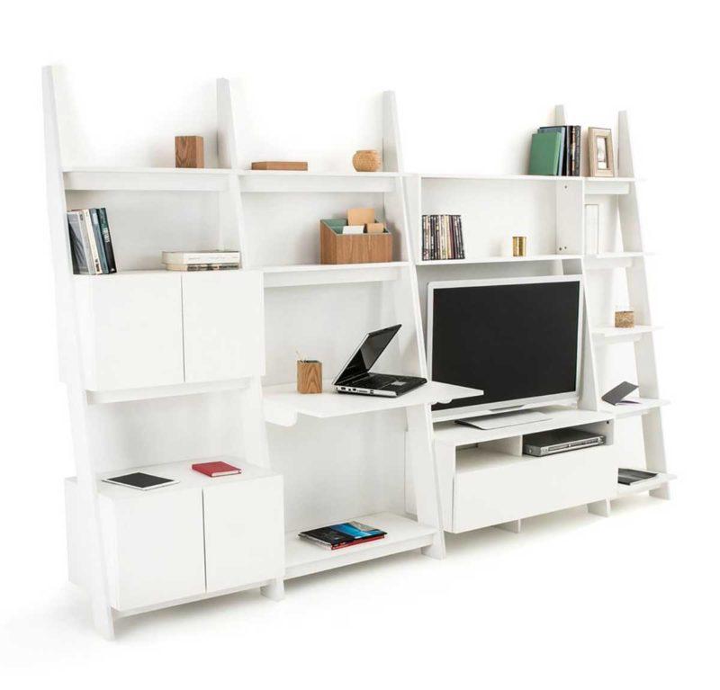 Grand meuble TV bibliothèque au design moderne