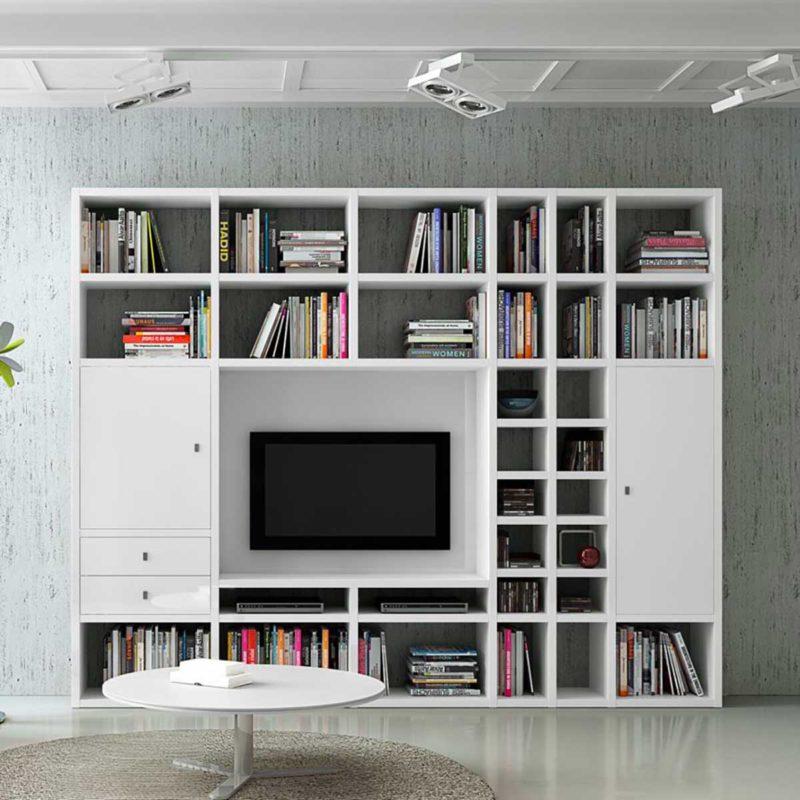 Grand meuble TV bibliothèque blanc