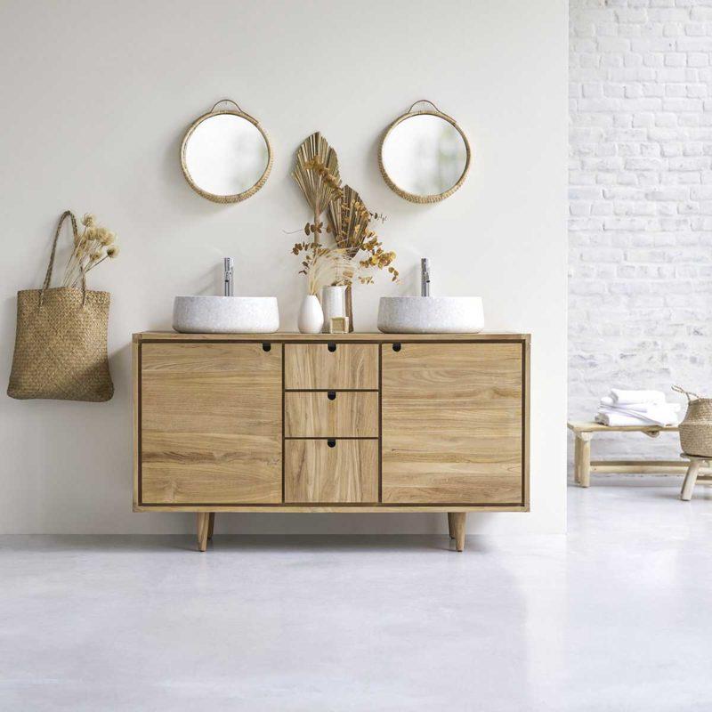 Meuble de salle de bains en bois exotique massif