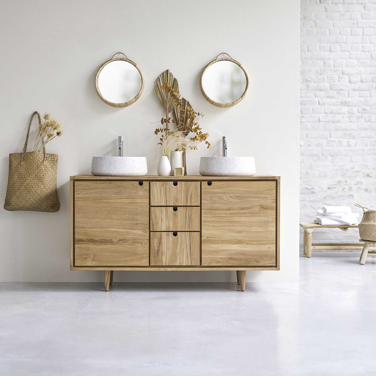 17 meubles en bois massif pour la salle de bains