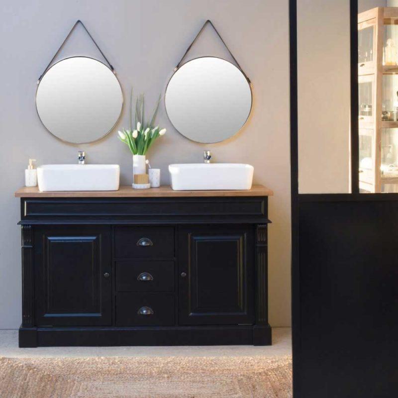 Meuble double vasque bois et noir