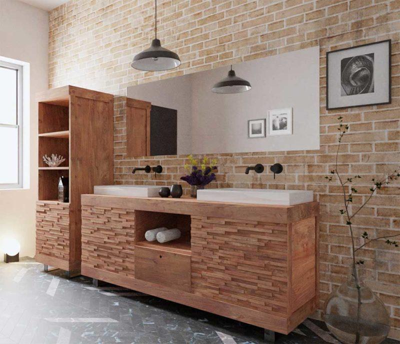 Meuble double vasque original en teck massif
