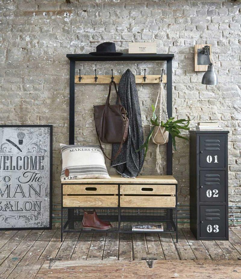 Meuble d'entrée vestiaire en métal et bois clair