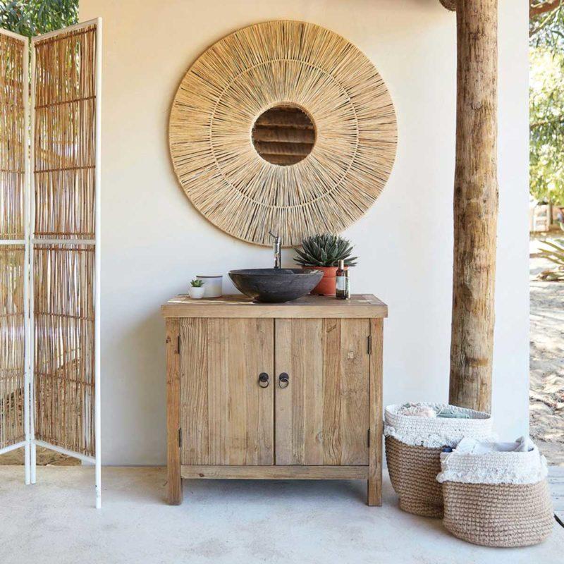 Meuble salle de bains bois naturel