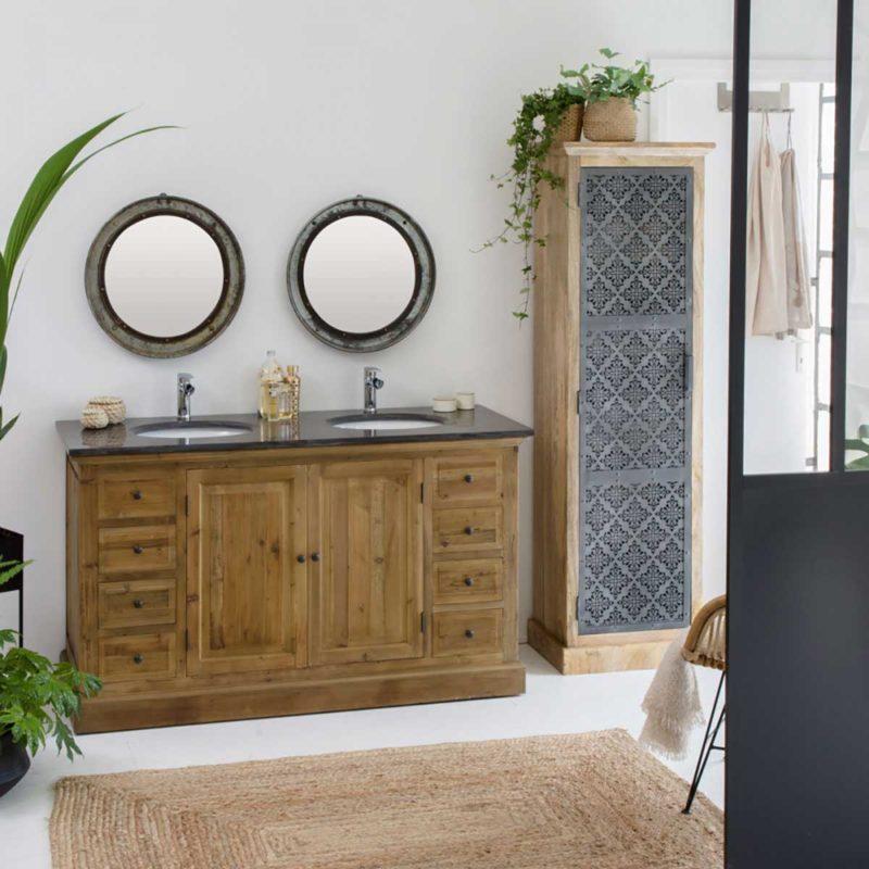 Meuble salle de bains bois massif recyclé