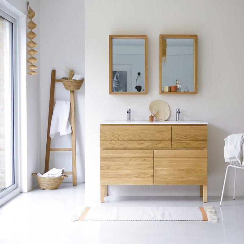 Meuble salle de bains en chêne massif style contemporain 120 cm