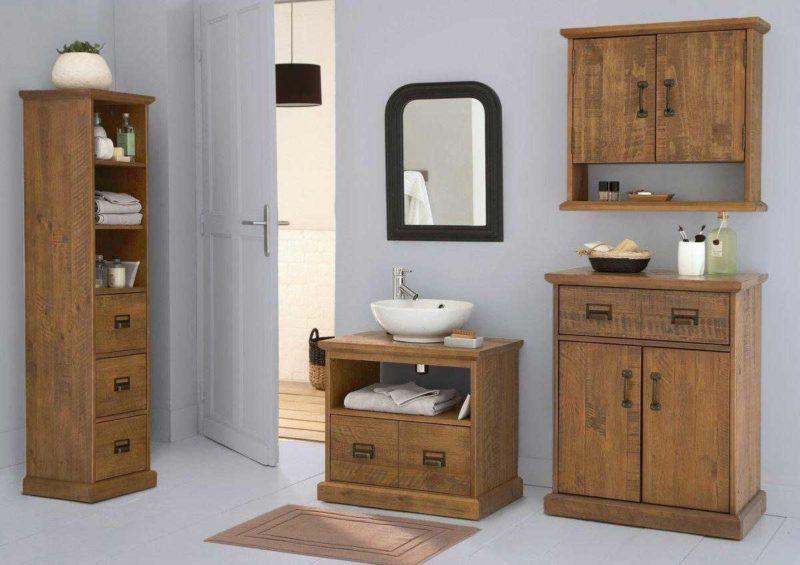 Meuble pour salle de bains en pin massif avec finition chêne vieilli