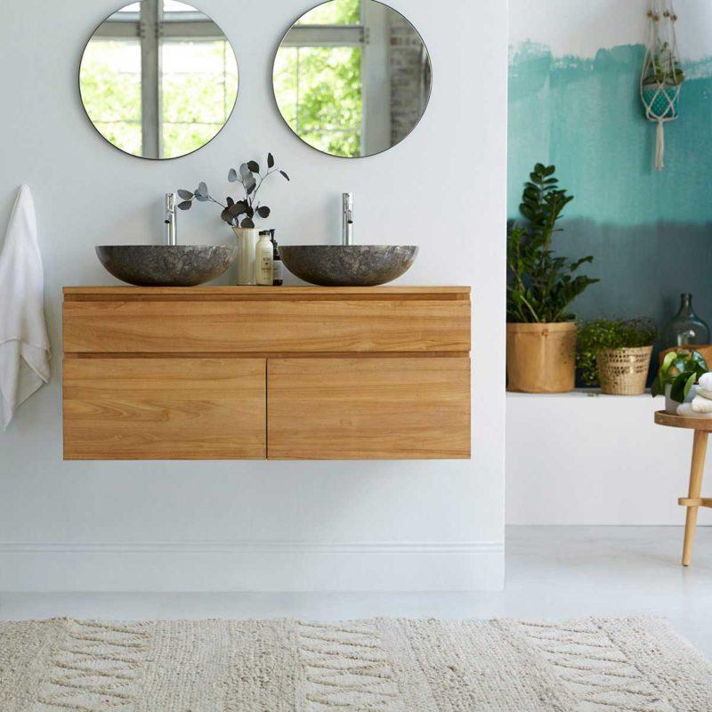 Meuble salle de bains suspendu en bois massif