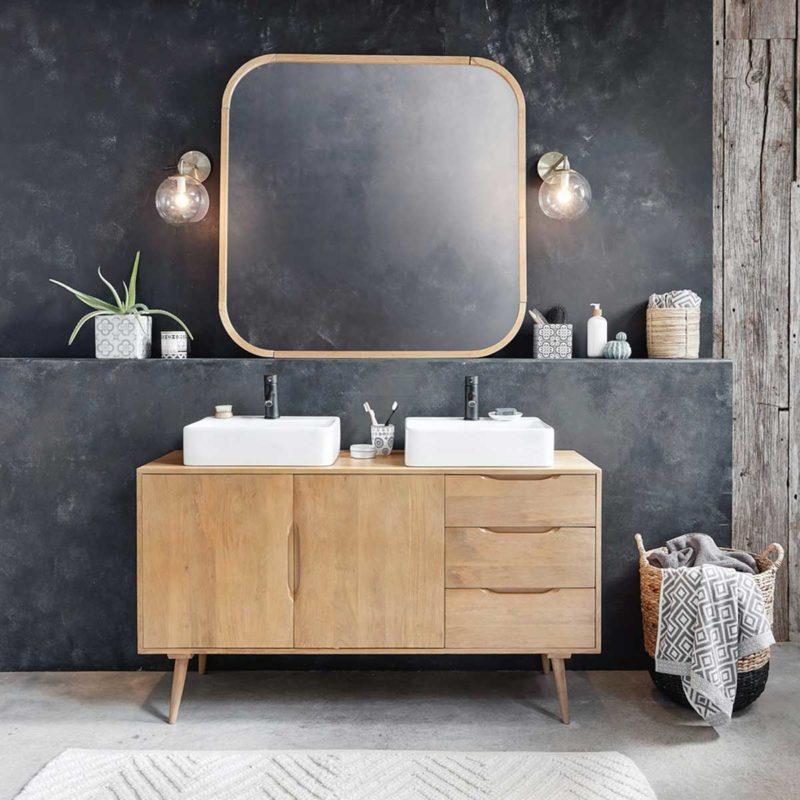 Meuble sous vasque en bois esprit vintage