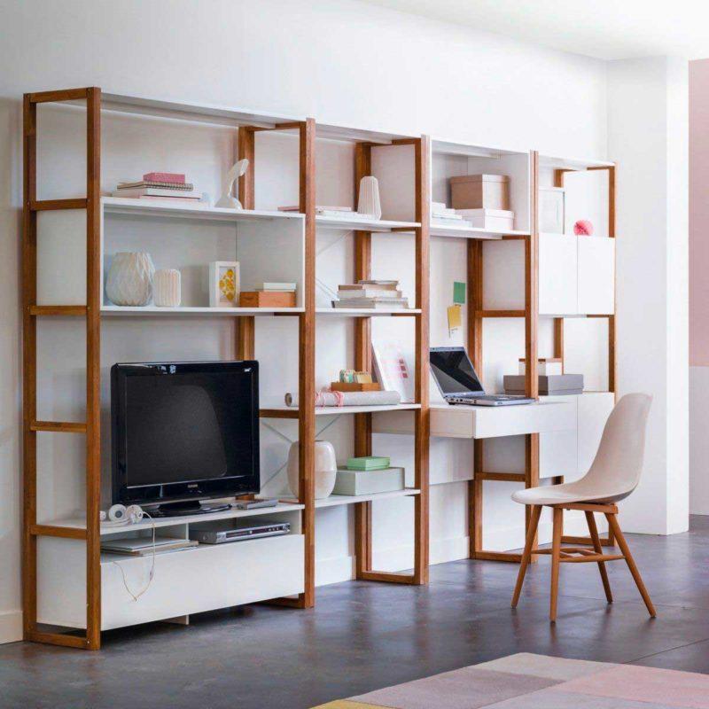 Meuble TV bibliothèque avec bureau intégré blanc et bois