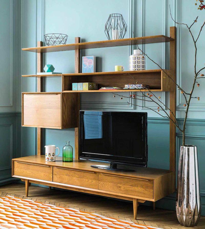 Meuble TV bibliothèque bois style vintage