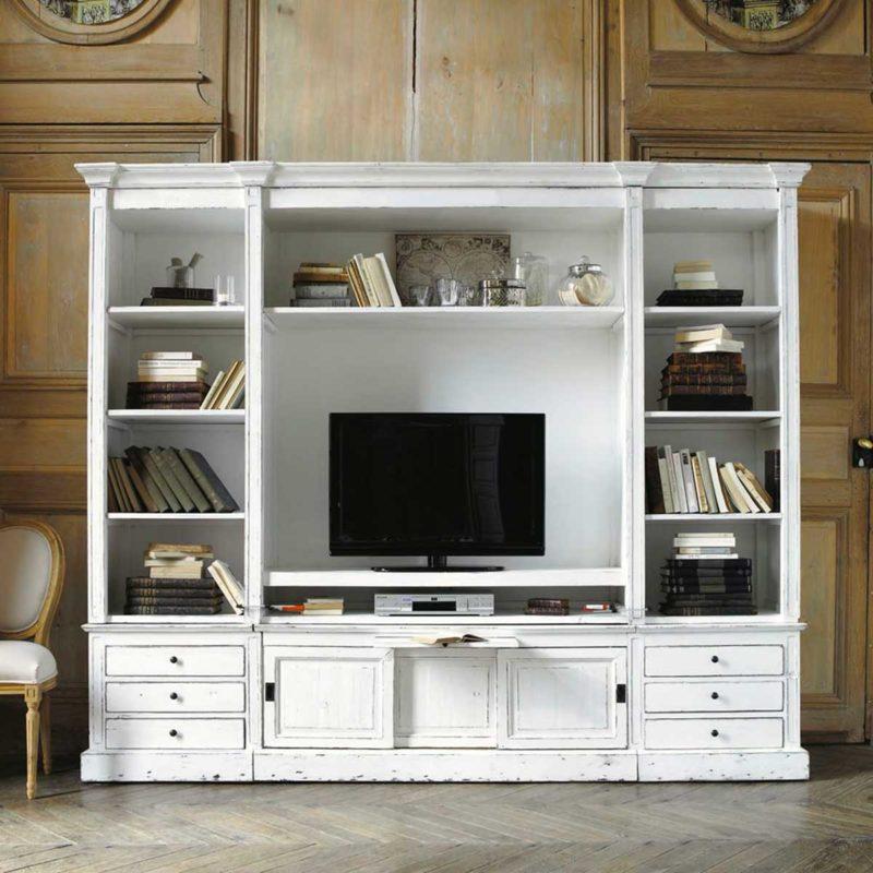 Meuble tv bibliotheque esprit maison de famille