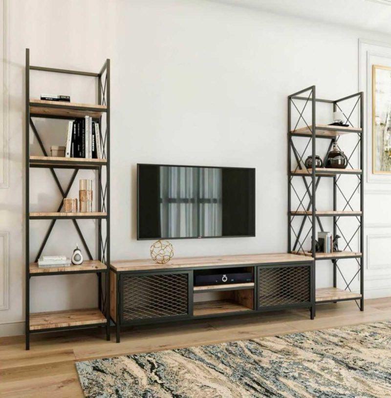 Meuble TV style industriel avec tv suspendue