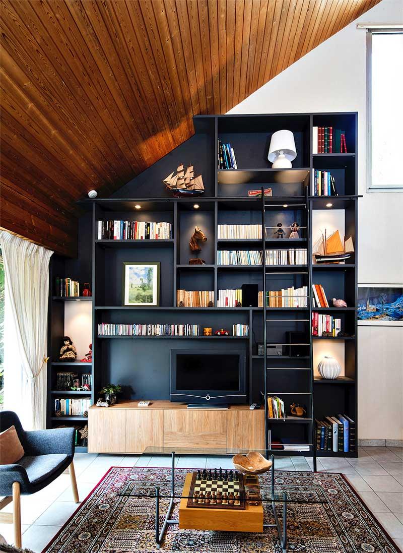 Mur avec bibliothèque TV sur mesure