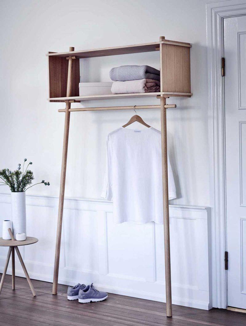 Penderie avec étagère en bois naturel design scandinave
