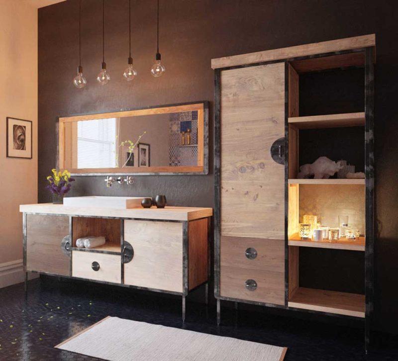 Salle de bains avec meubles en teck et métal