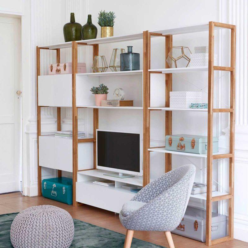 Salon avec meuble TV bibliothèque moderne blanc et bois