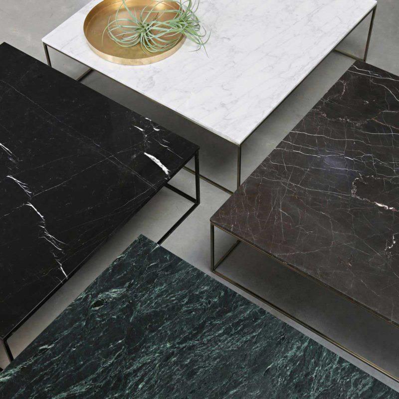 Table basse plateau marbre base en acier