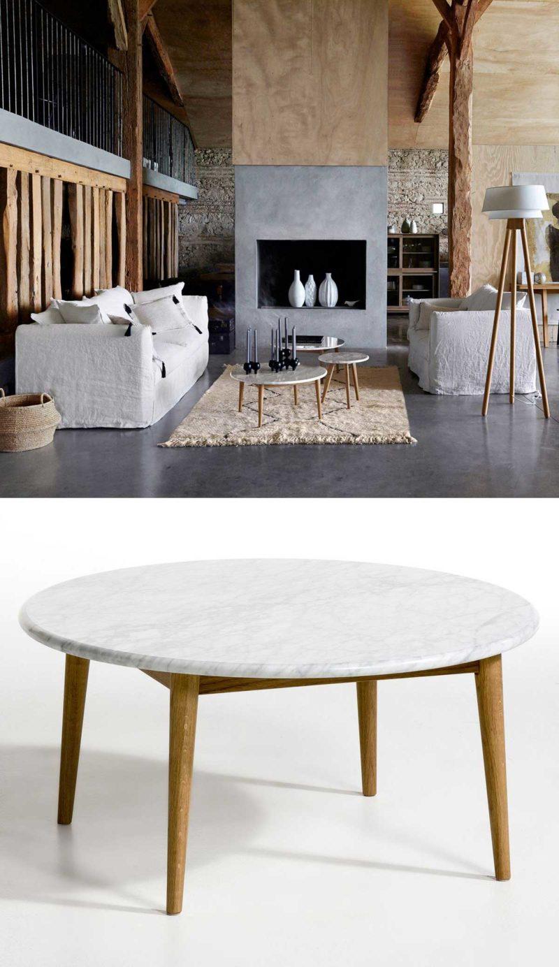 Table basse ronde marbre et bois