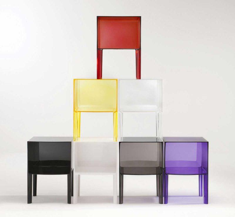 Table de chevet design en plastique transparent