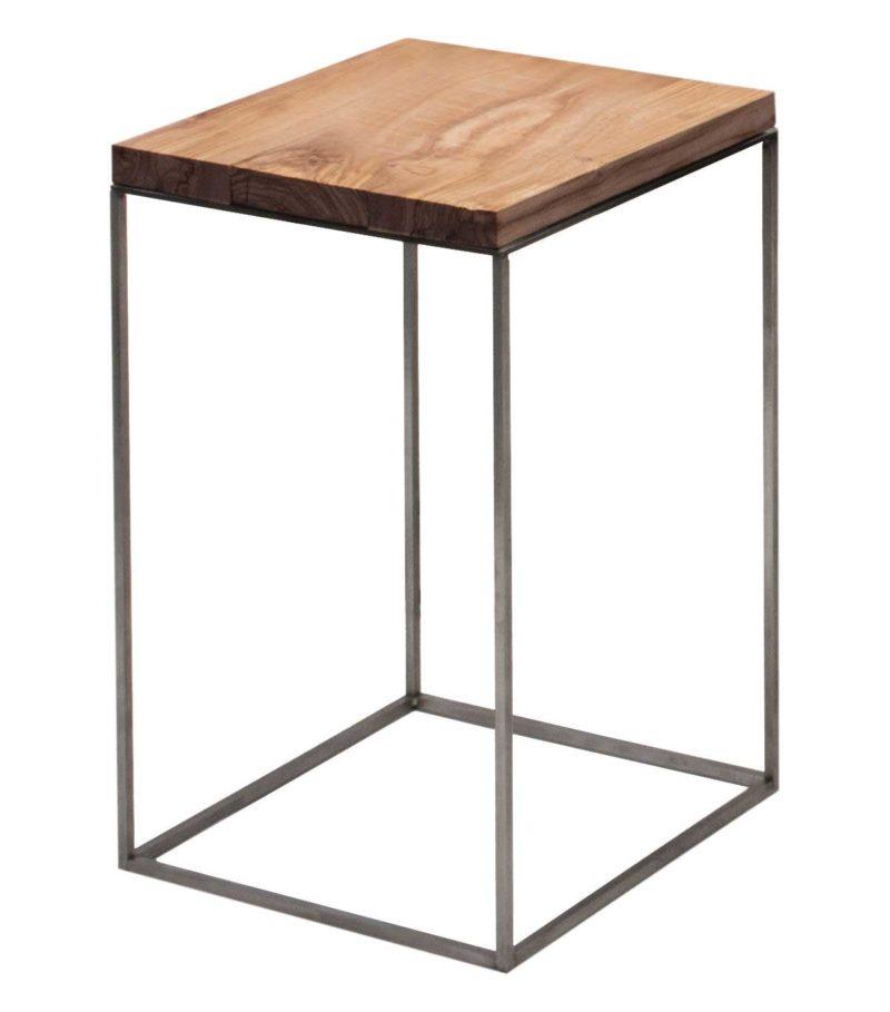 Table de chevet en métal et bois