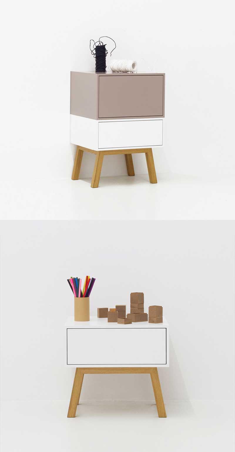 Table de nuit design moderne avec tiroir