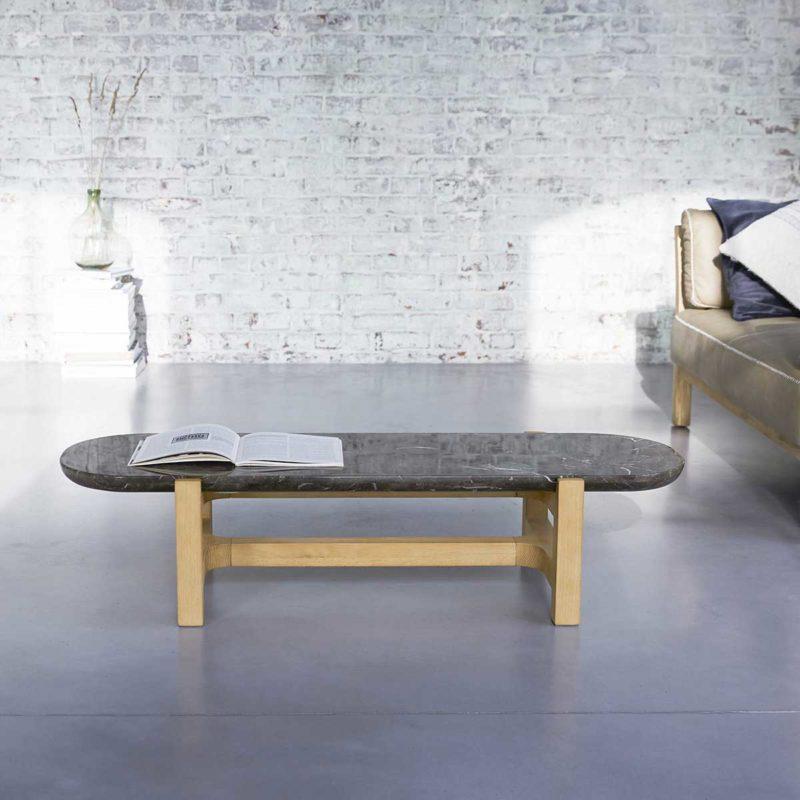 Table de salon en bois et marbre marron
