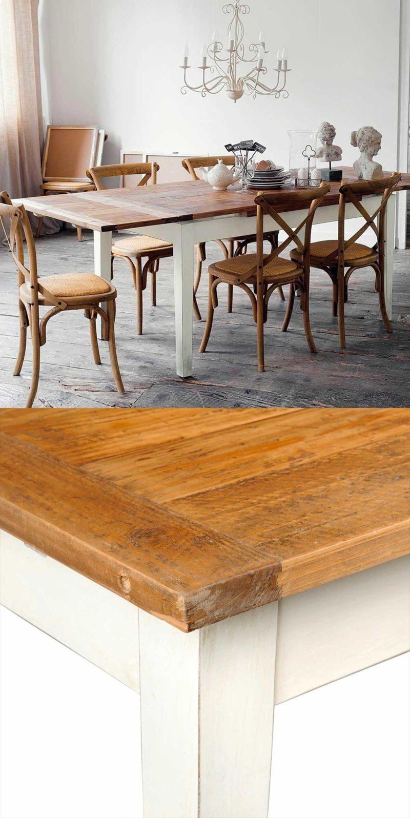 Table extensible en bois massif avec pieds blanc