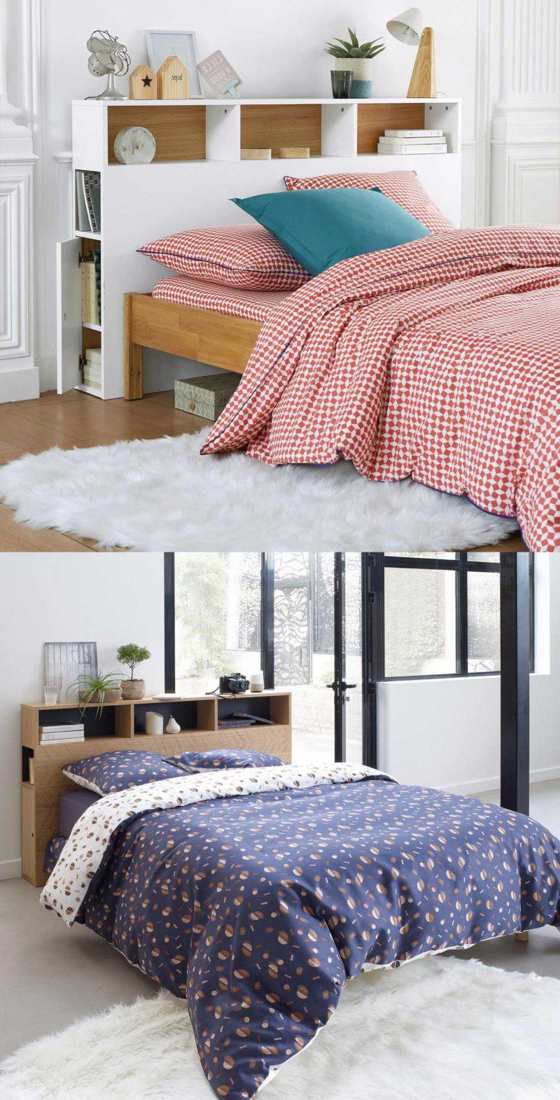 Une tête de lit avec rangements