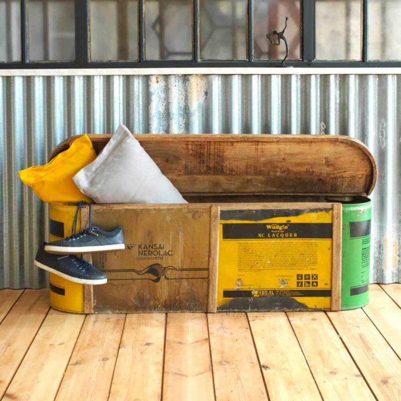 Banc coffre d'entrée en bois recyclé