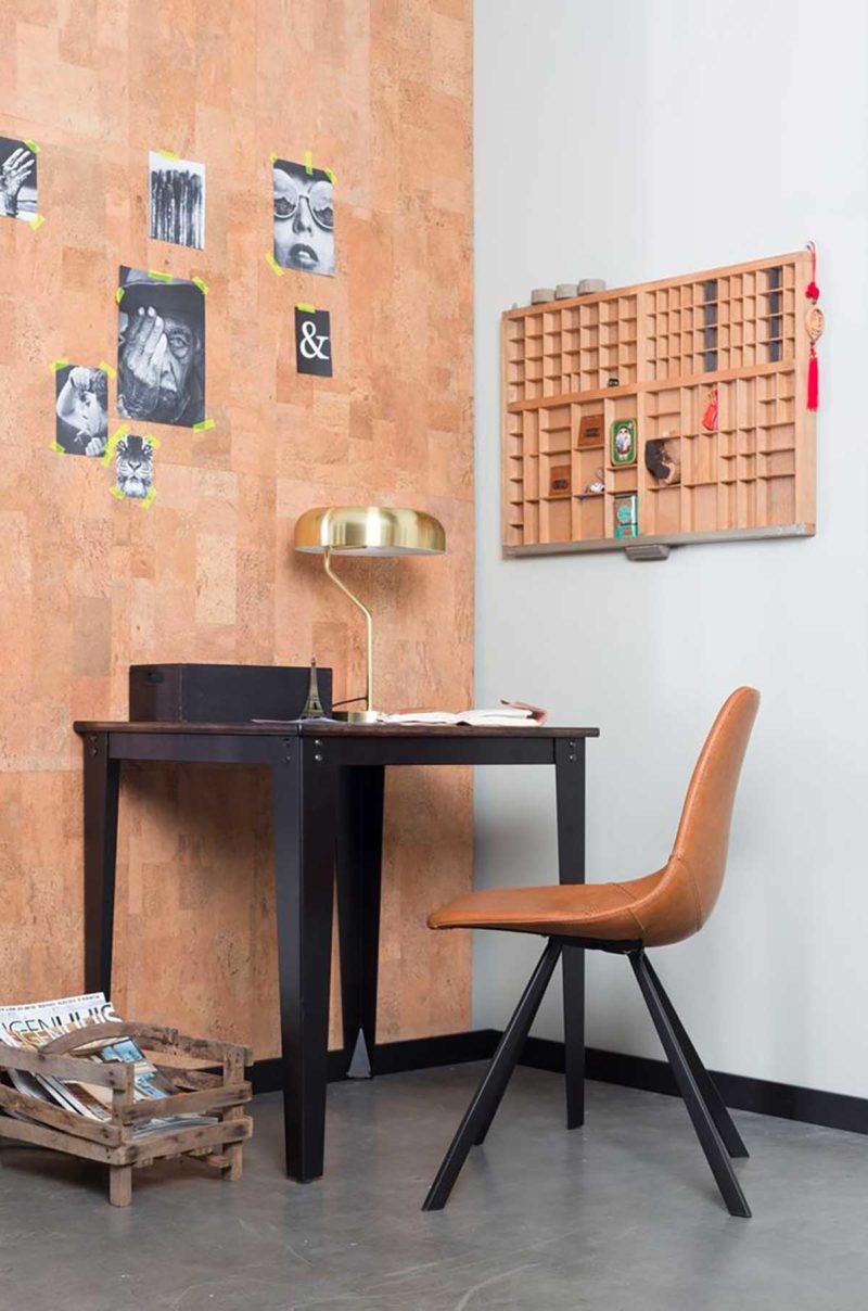 Bureau avec chaise en cuir marron camel