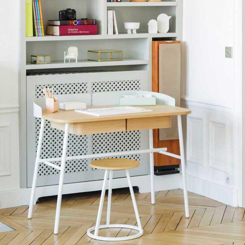 Bureau design blanc et bois